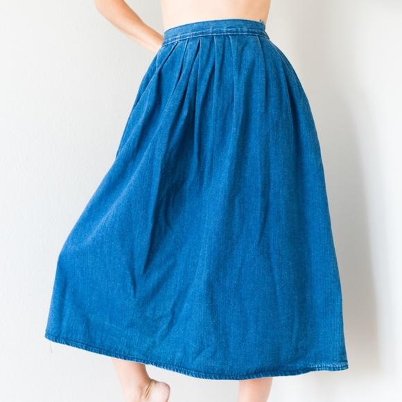 4c9607788c Vintage High Waisted Denim Maxi Jean Skirt L 30